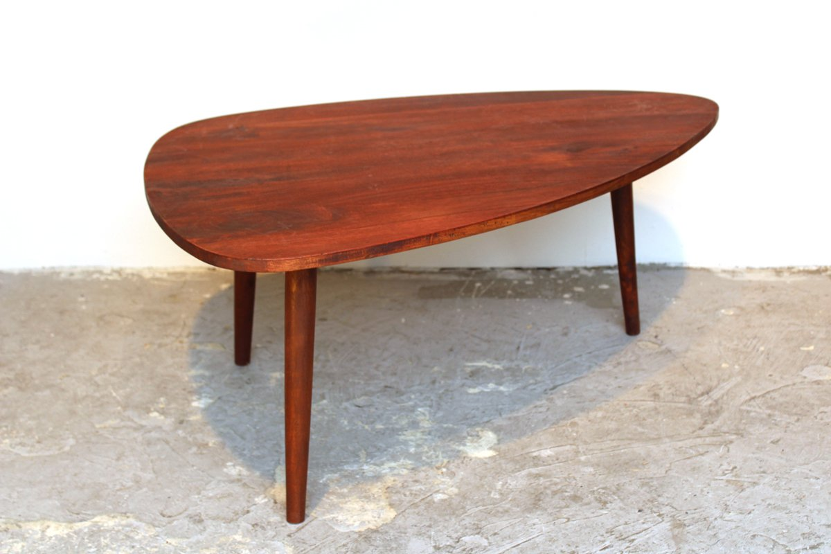 Vintage Tripod Coffee Table In Stained Wood For Sale At Pamono