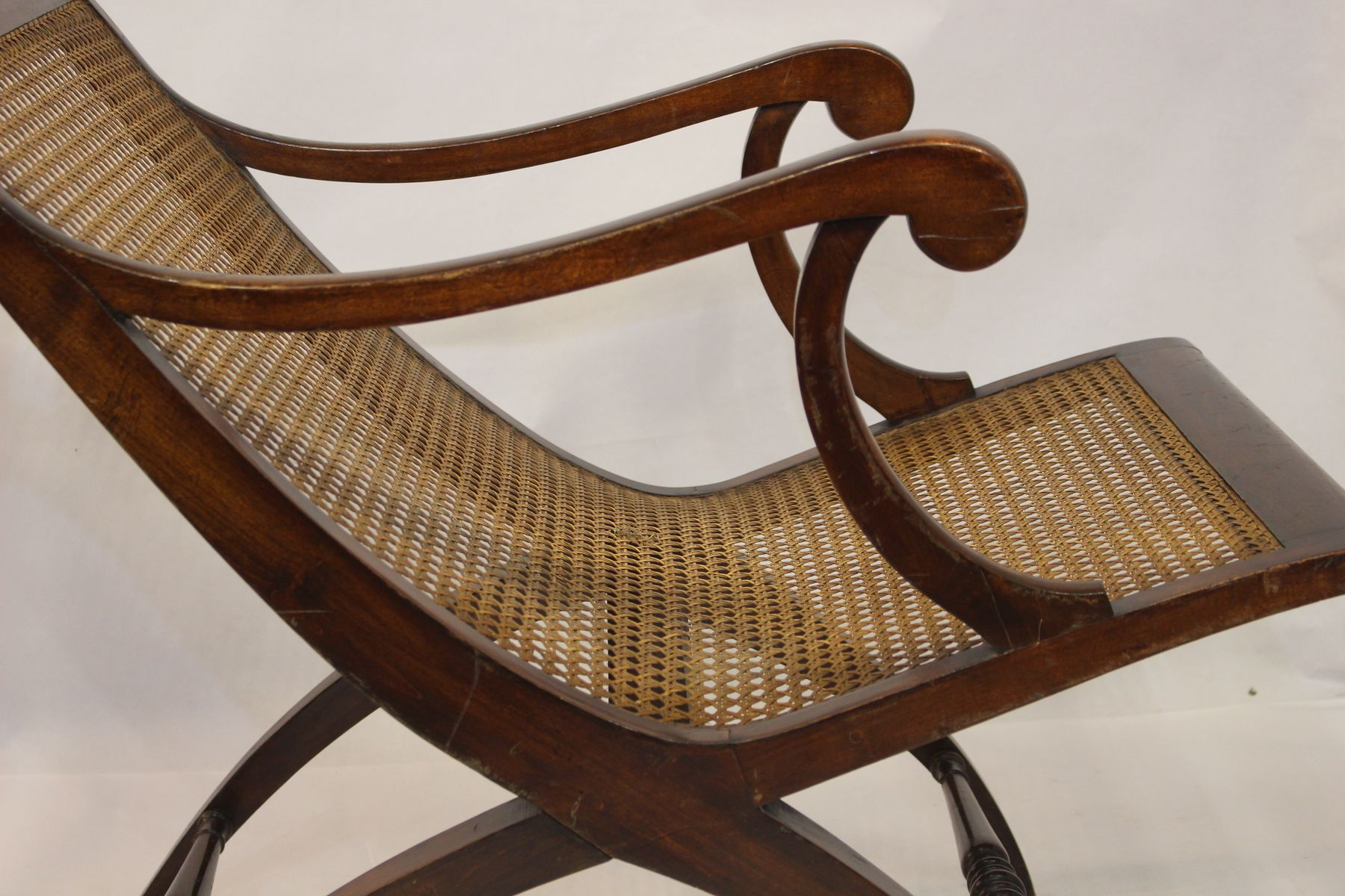 Vintage cane rocking chair - Antique French Caned Lounge Chair