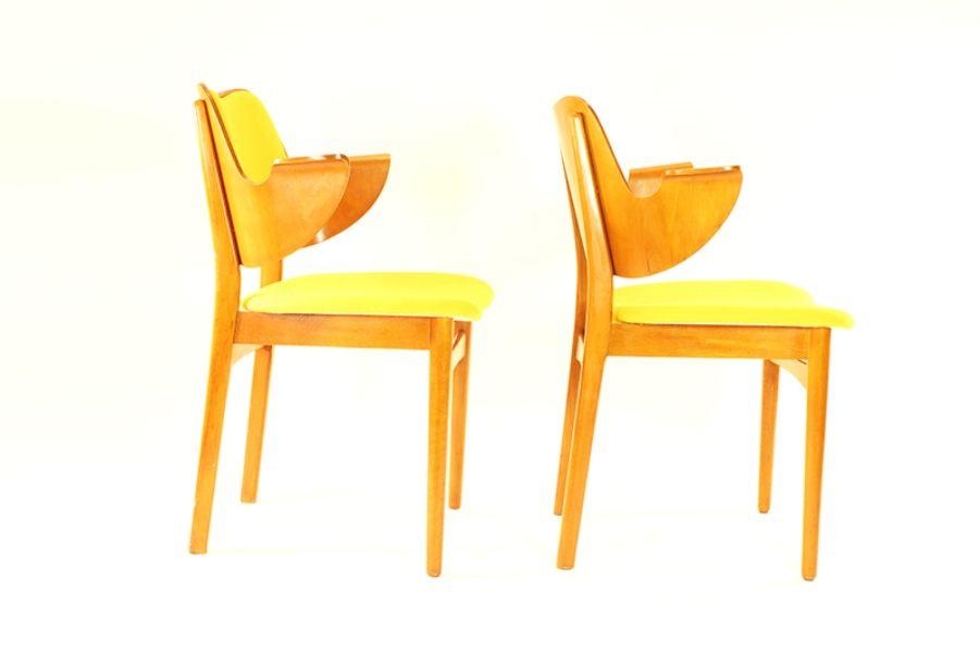 gelbe st hle von hans olsen 2er set bei pamono kaufen. Black Bedroom Furniture Sets. Home Design Ideas