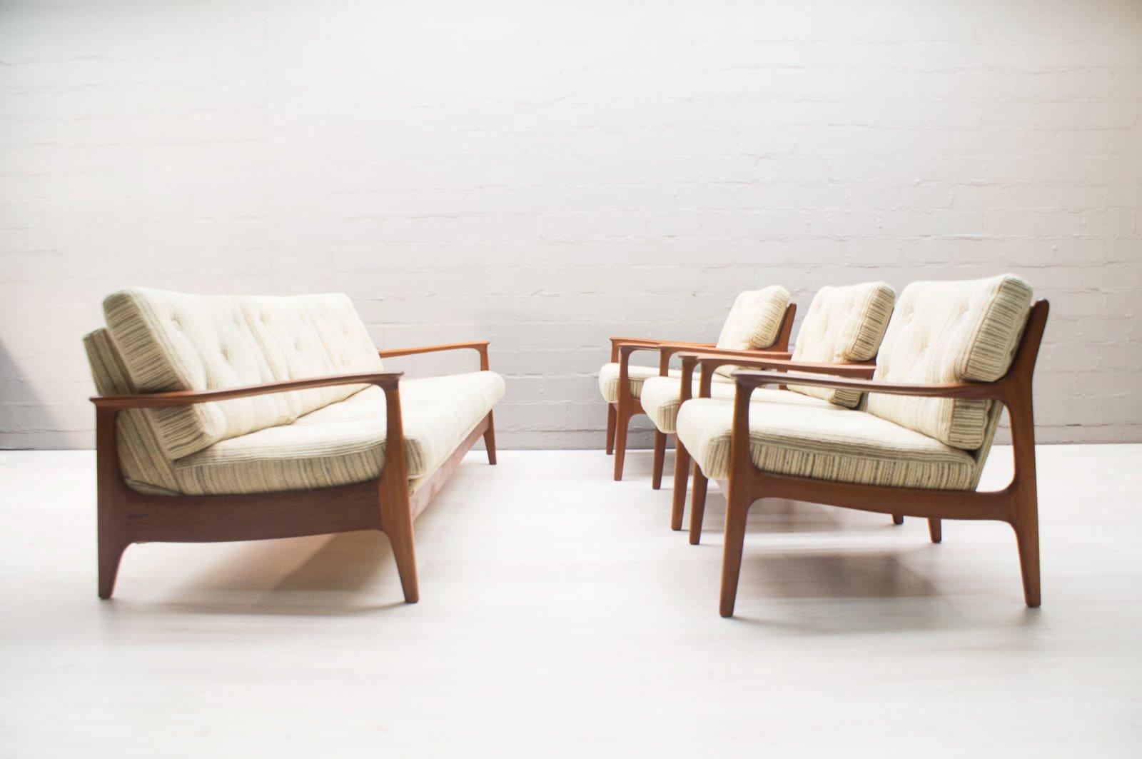 skandinavisches vintage teak sofa mit 3 sesseln bei pamono. Black Bedroom Furniture Sets. Home Design Ideas