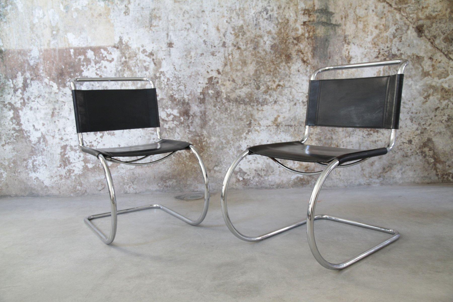 Vintage Steel Tubular Chairs by Ludwig Mies van der Rohe Set of 2