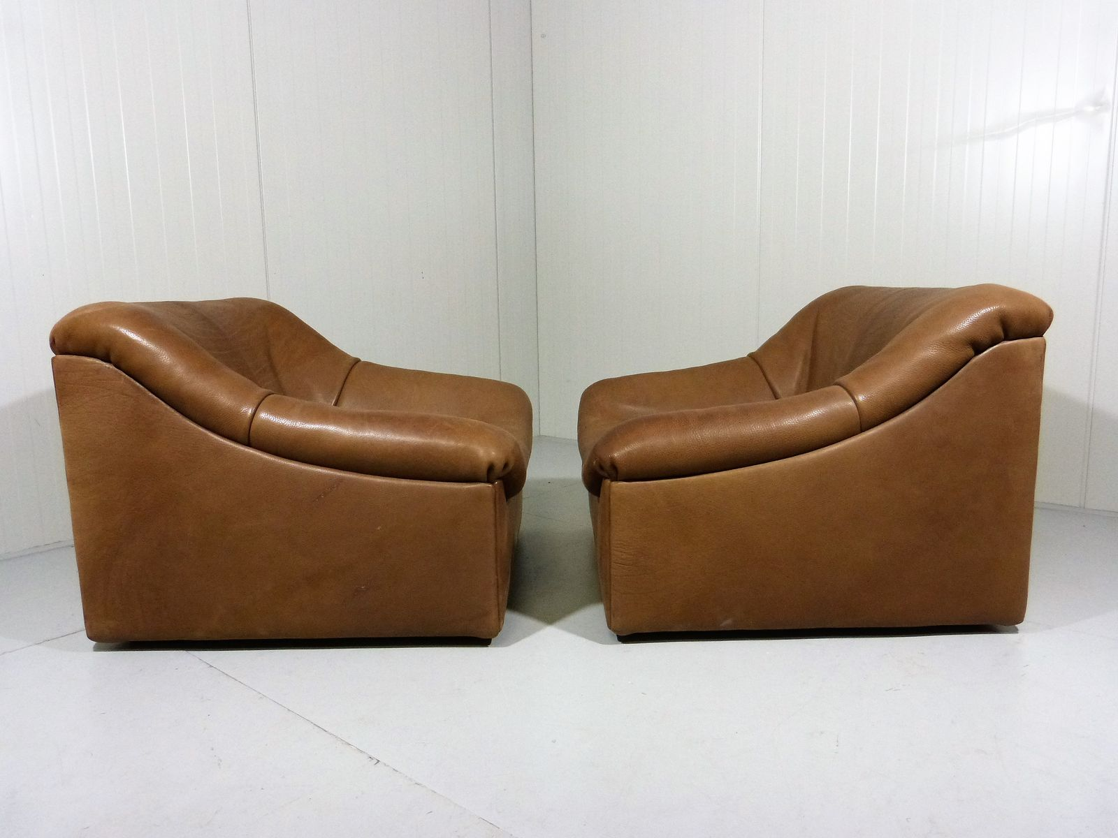 Ds 46 Thick Buffalo Leather Lounge Chairs From De Sede Set Of 2 For Sale At Pamono