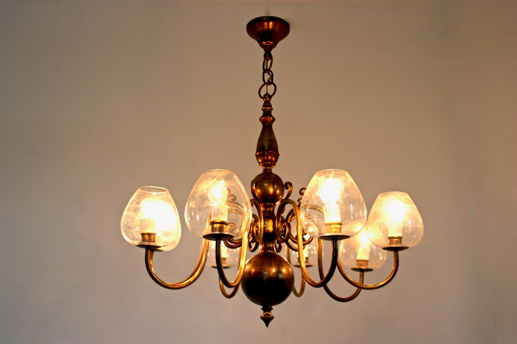 Italian Brass Amp Blown Glass Chandelier 1960s For Sale At