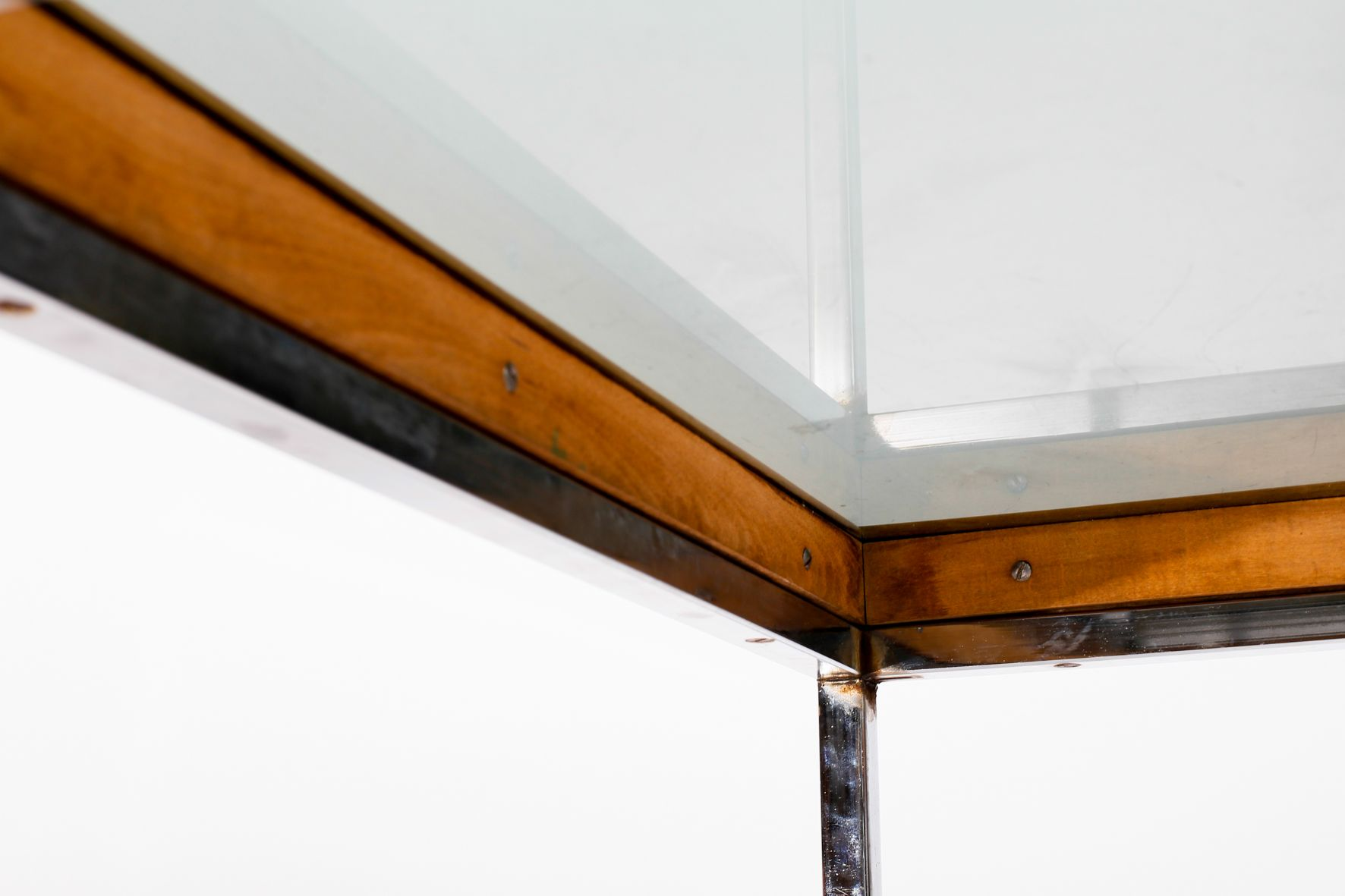 Vintage Wood And Chrome Coffee Table 1970s For Sale At Pamono