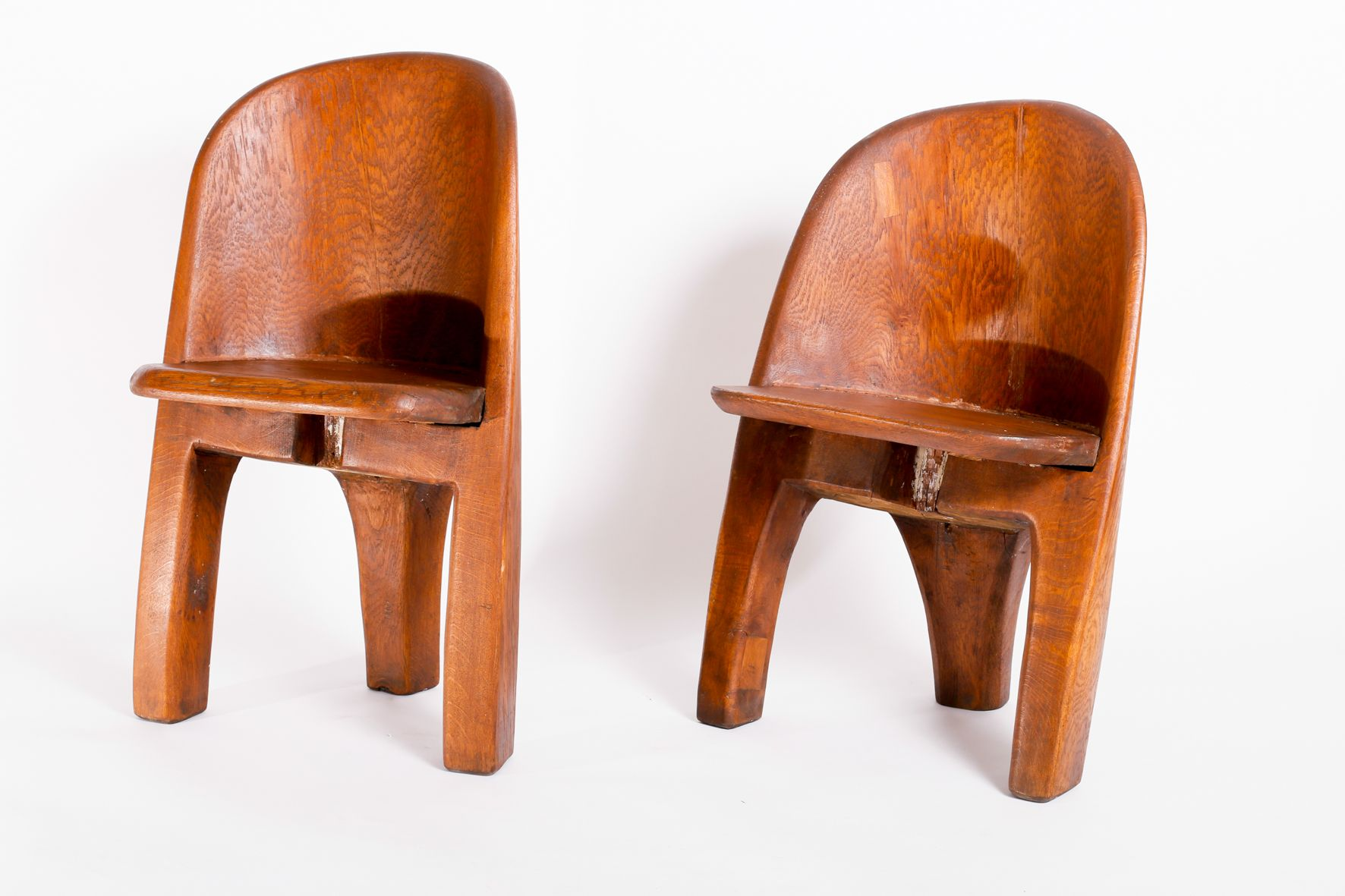 Vintage Brutalist Solid Oak Chairs Set of 2 for sale at Pamono