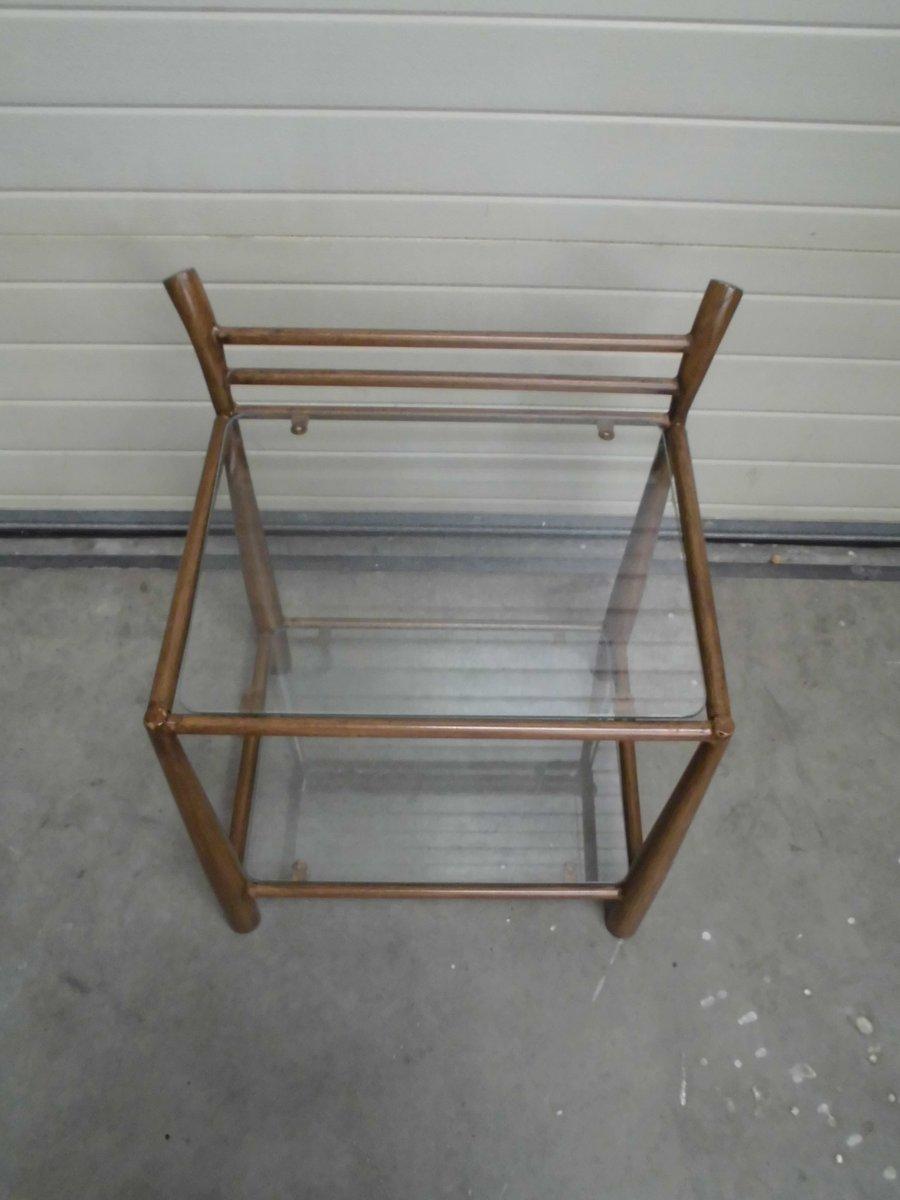 beistelltisch aus metall glas 1970er bei pamono kaufen. Black Bedroom Furniture Sets. Home Design Ideas