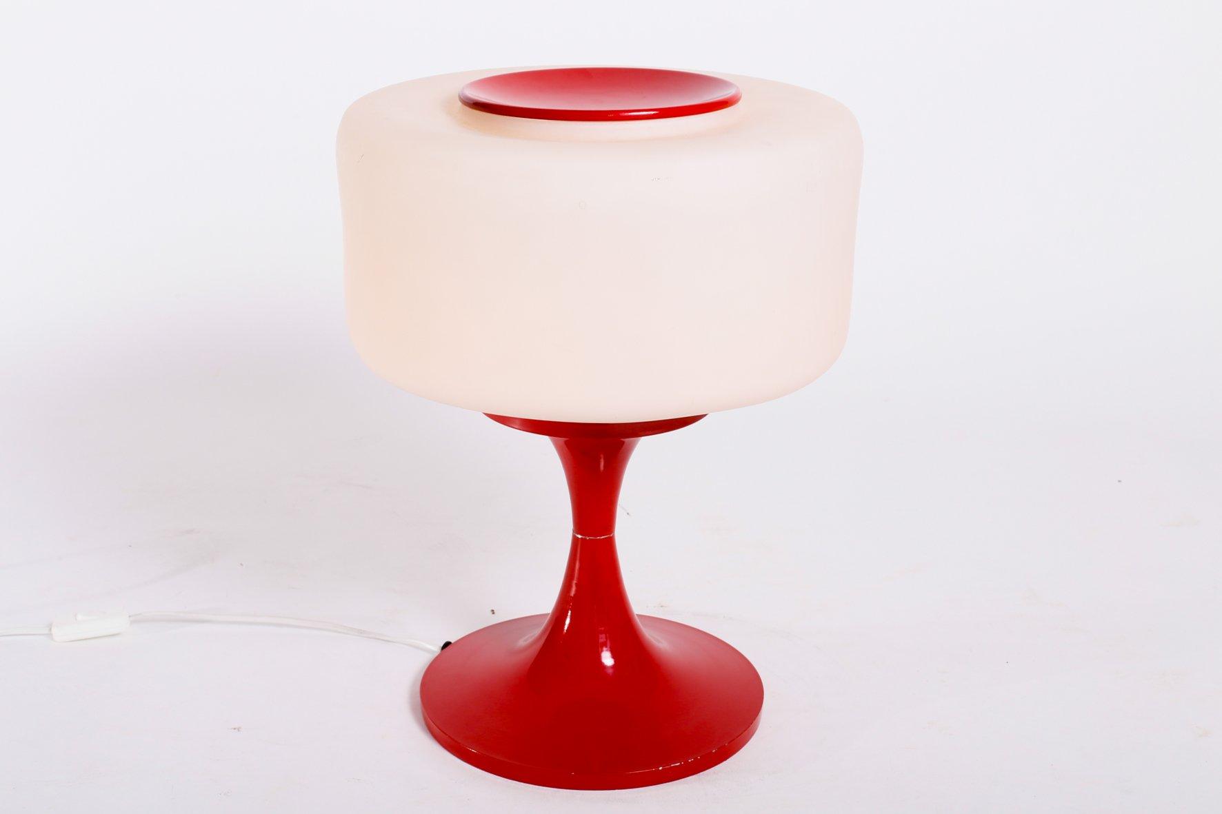 vintage tischlampe aus glas emailliertem stahl bei. Black Bedroom Furniture Sets. Home Design Ideas
