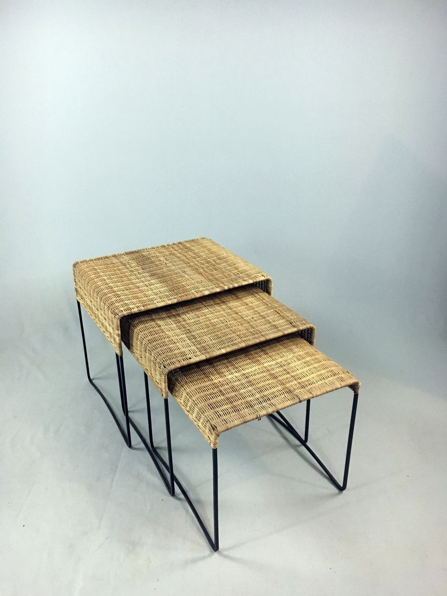 Vintage Steel And Rattan Nesting Tables, 1960s