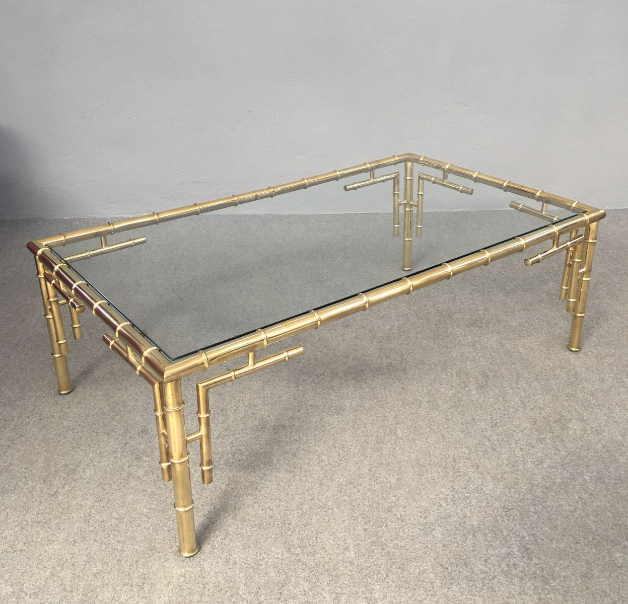 Brass And Faux Bamboo Coffee Table 1960s For Sale At Pamono