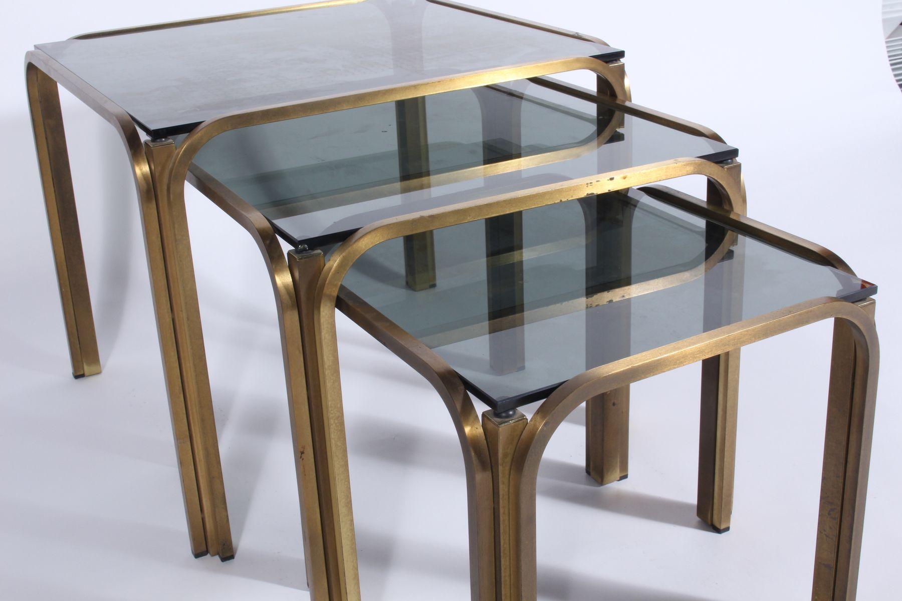 Metal Nesting Tables ~ Vintage gilt metal nesting tables for sale at pamono