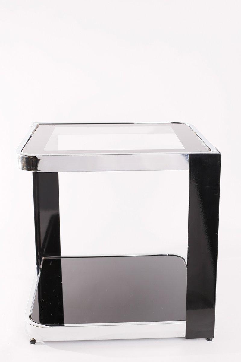 vintage beistelltisch aus hartglas verchromtem metall. Black Bedroom Furniture Sets. Home Design Ideas