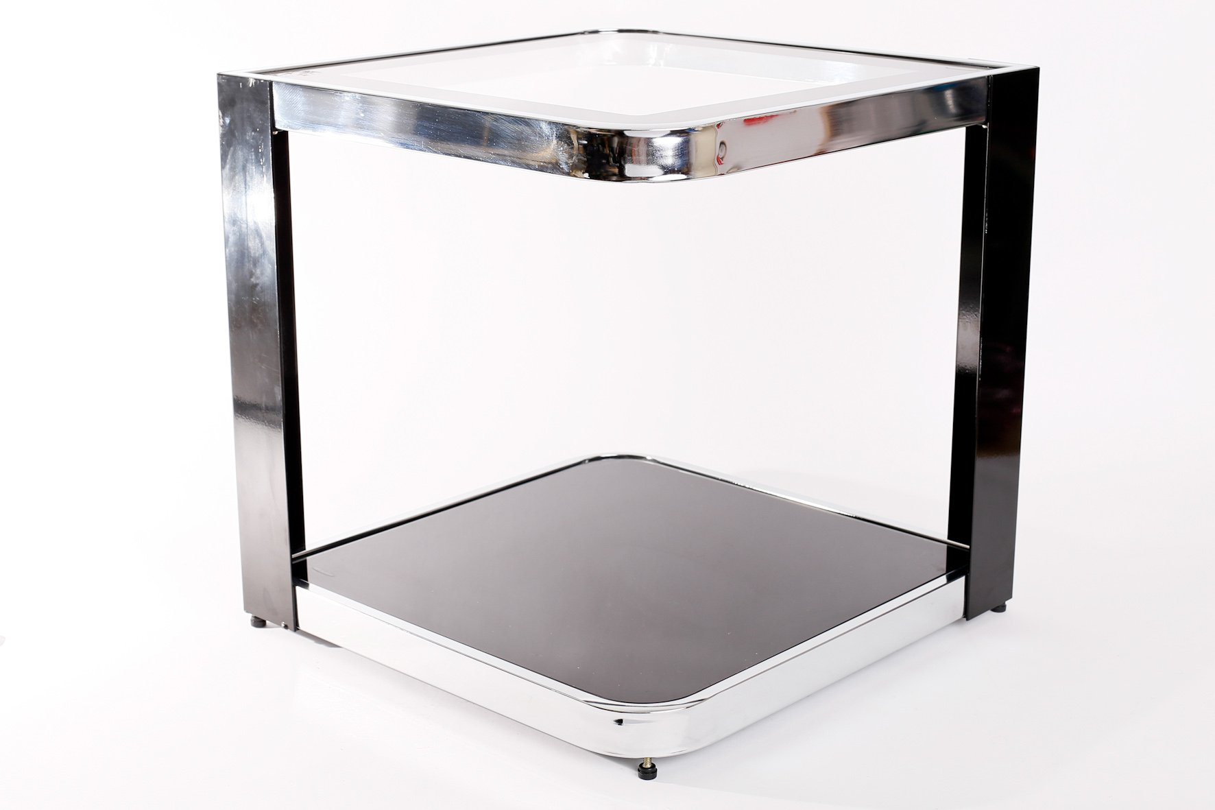 Vintage Tempered Glass And Chrome Plated Metal Side Table