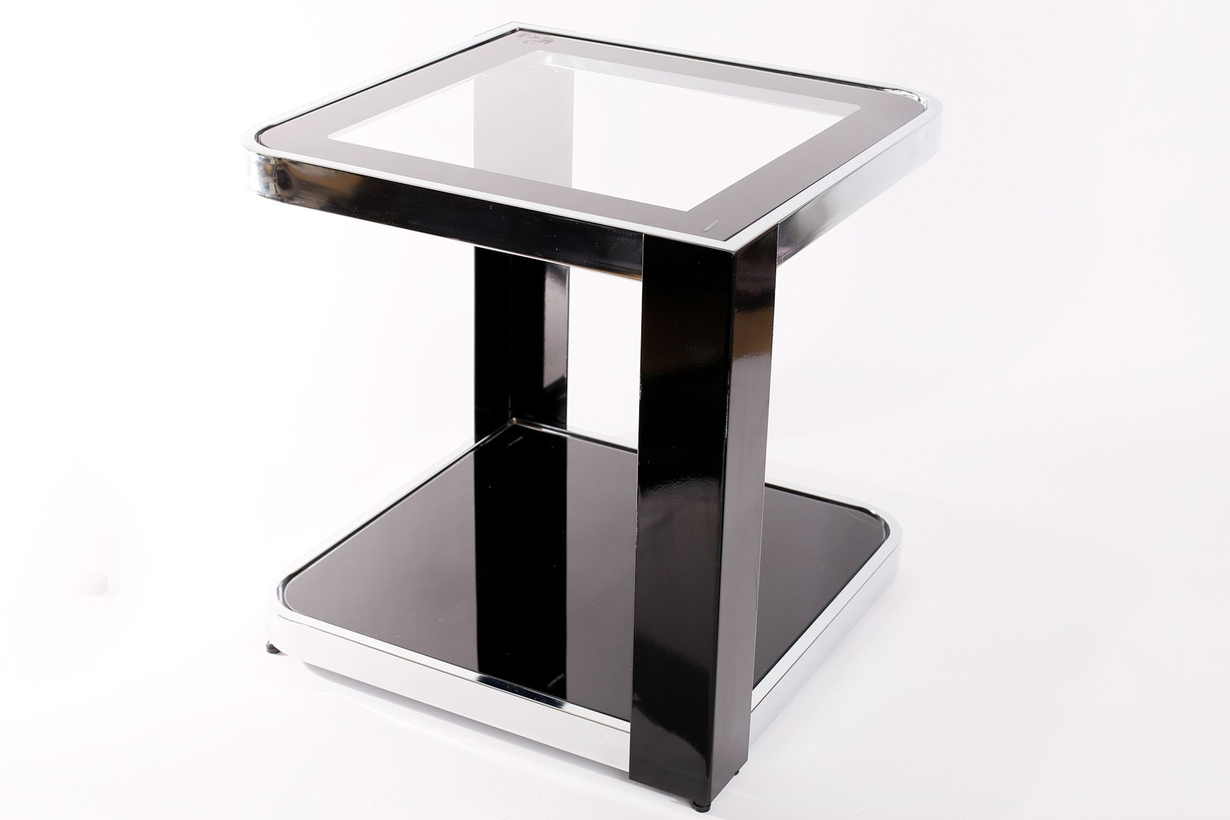 Vintage Tempered Glass and Chrome Plated Metal Side Table for sale