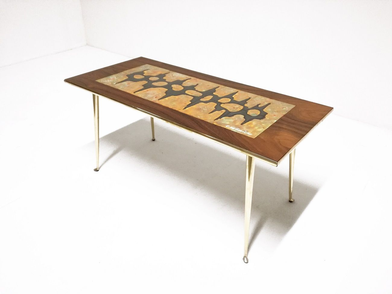 Mid Century Rosewood And Ceramic Coffee Table 1950s For Sale At Pamono