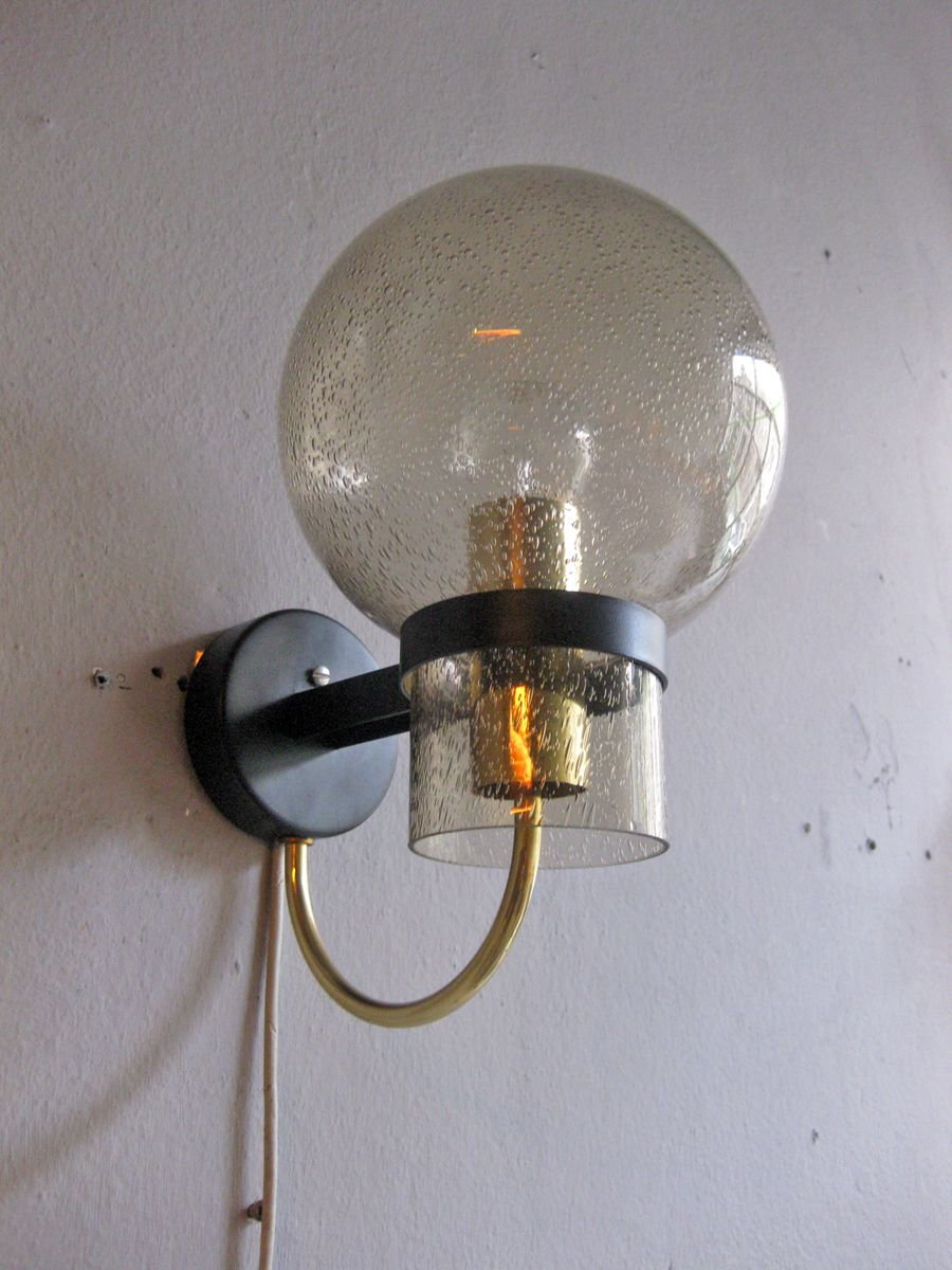 vintage wandlampe aus bubble rauchglas messing von. Black Bedroom Furniture Sets. Home Design Ideas