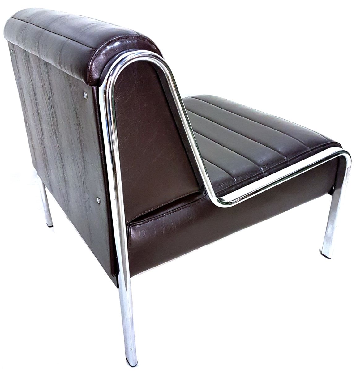 Vintage Chrome And Vinyl Lounge Chair 1970s For Sale At