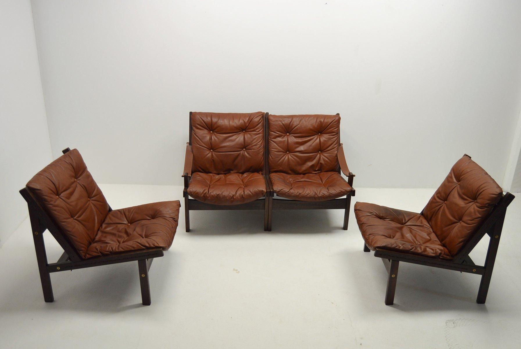 Leather Living Room Set by Torbjørn Afdal for Bruksbo, 1960s for ...