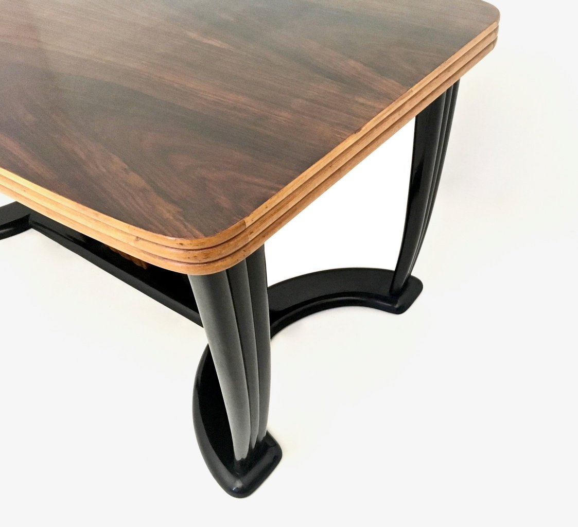 Mahogany and Ebonized Wood Dining Table with Black Opaline  : mahogany and ebonized wood dining table with black opaline glass top 1940s 7 from www.pamono.com size 1123 x 1024 jpeg 218kB