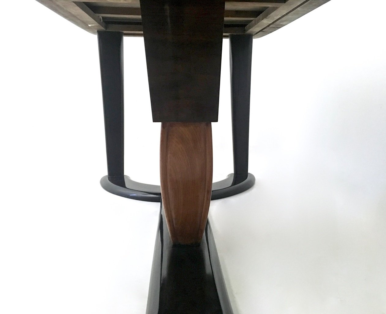 Mahogany and Ebonized Wood Dining Table with Black Opaline  : mahogany and ebonized wood dining table with black opaline glass top 1940s 6 from www.pamono.com size 1261 x 1024 jpeg 209kB
