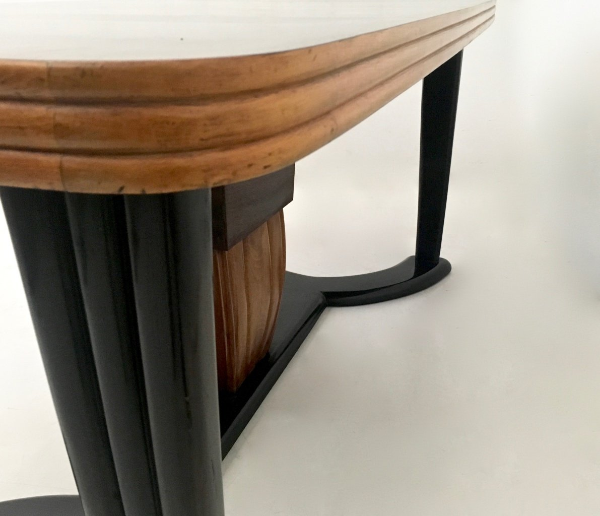 Mahogany and Ebonized Wood Dining Table with Black Opaline  : mahogany and ebonized wood dining table with black opaline glass top 1940s 5 from www.pamono.com size 1191 x 1024 jpeg 262kB