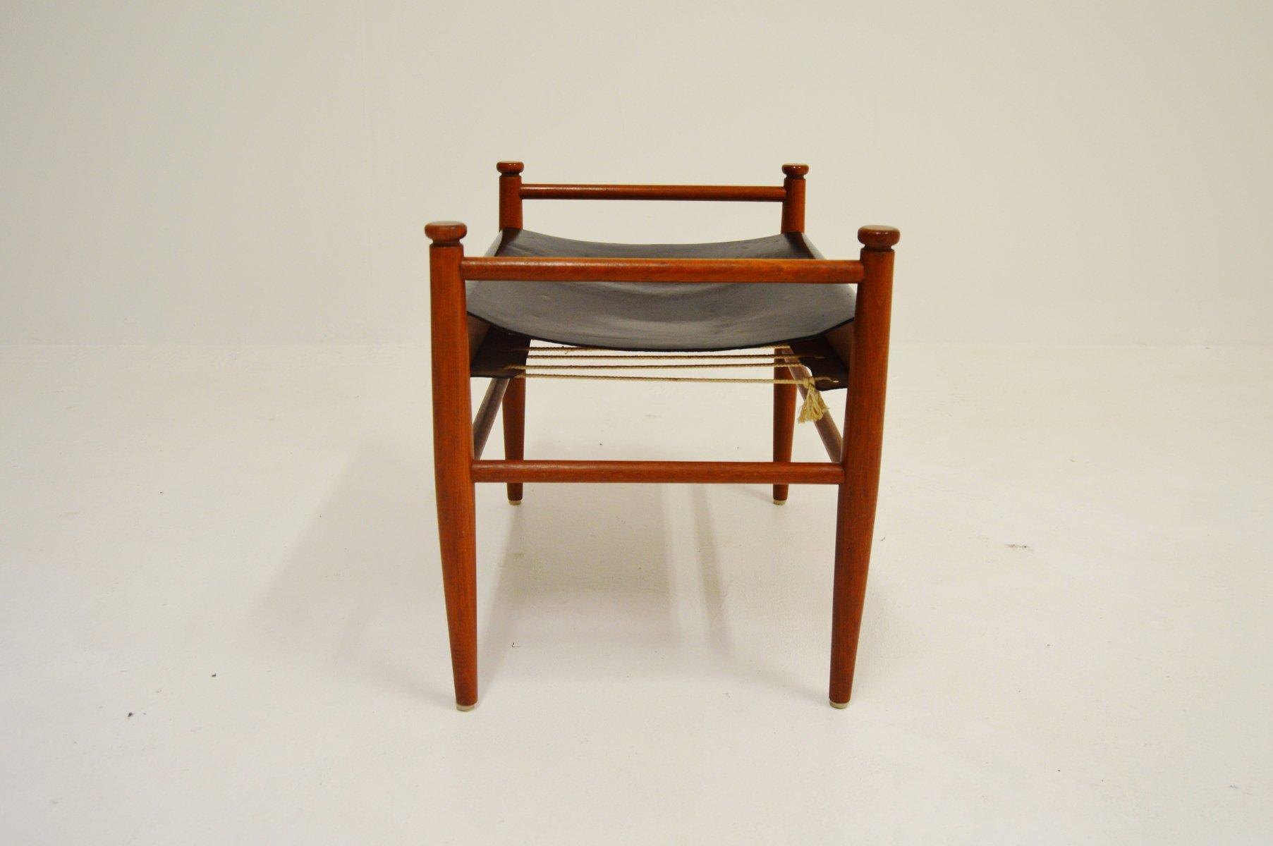 fu hocker aus teak leder 1960er bei pamono kaufen. Black Bedroom Furniture Sets. Home Design Ideas