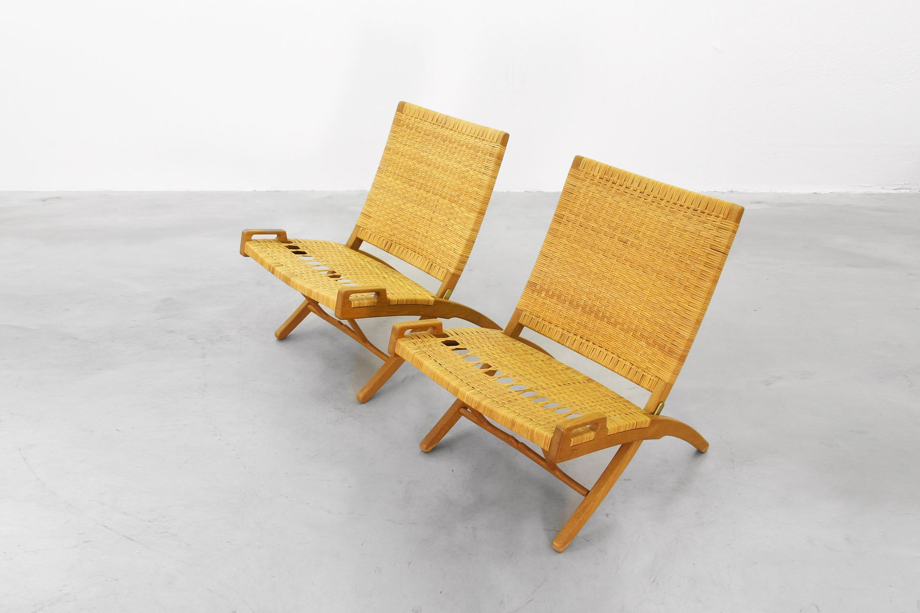 Mid Century Folding Lounge Chairs by Hans J Wegner for Johannes