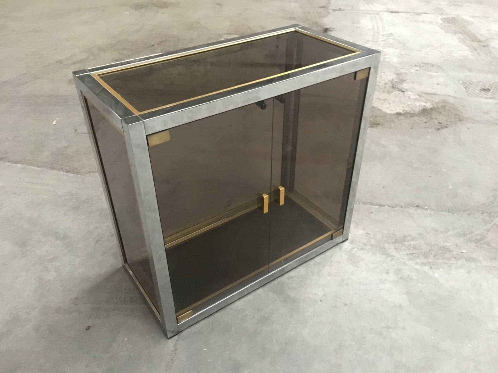 mid century modern vitrine in chrome brass and smoked glass by romeo rega 1970s for sale at. Black Bedroom Furniture Sets. Home Design Ideas