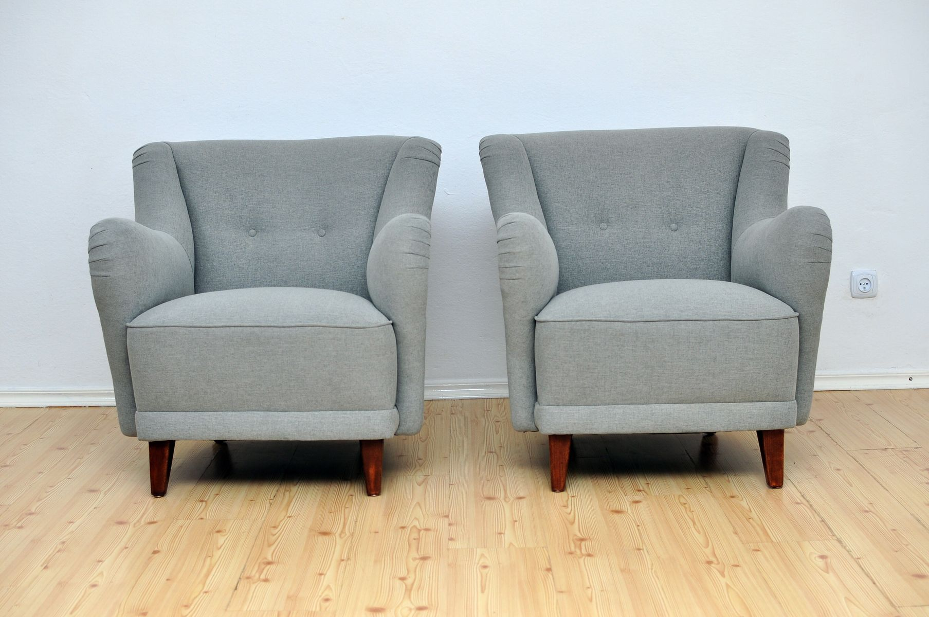 Grey Armchairs, 1950s, Set Of 2