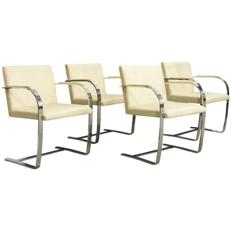 Vintage Brno Chairs in Cream Leather by Ludwig Mies van der Rohe ... | furniture shops brno