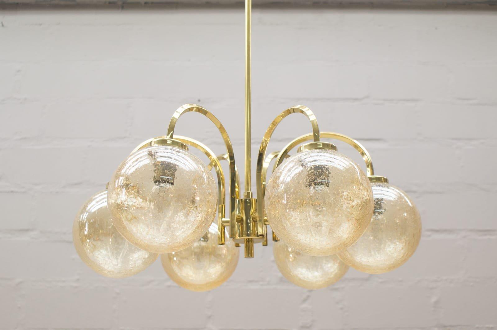 goldene vintage deckenlampe mit 6 leuchten 1960er bei pamono kaufen. Black Bedroom Furniture Sets. Home Design Ideas
