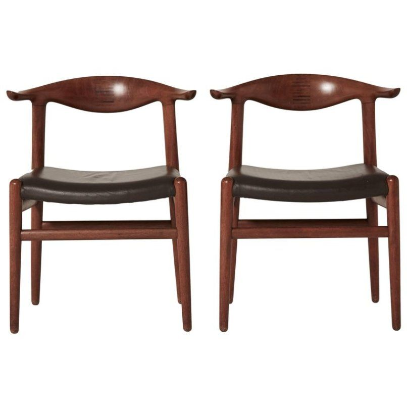 mid century modell jh 5050 cow horn st hle von hans wegner f r johannes hansen bei pamono kaufen. Black Bedroom Furniture Sets. Home Design Ideas