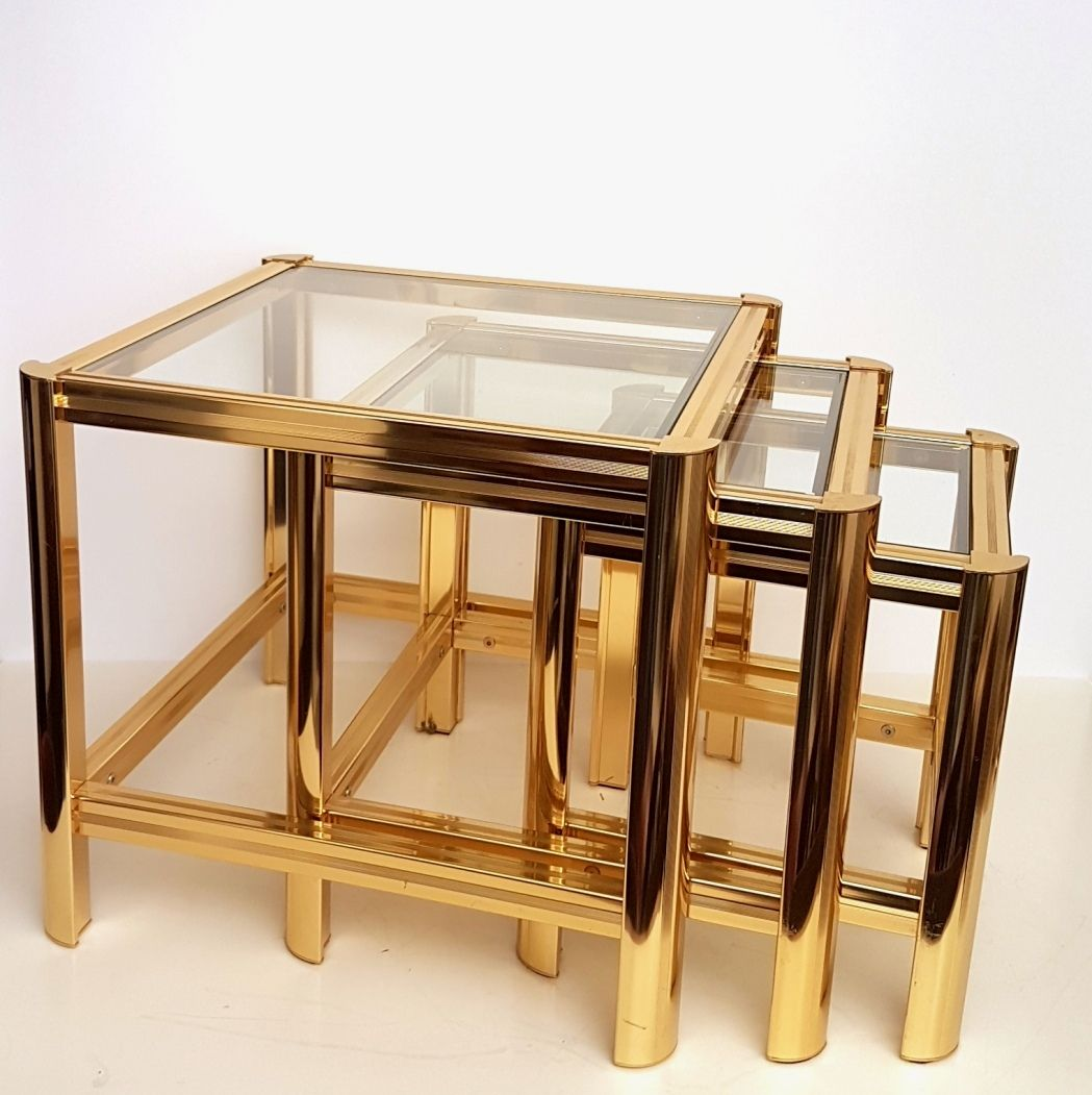 Gold Nesting Tables ~ Italian gold plated nesting tables with cut glass s