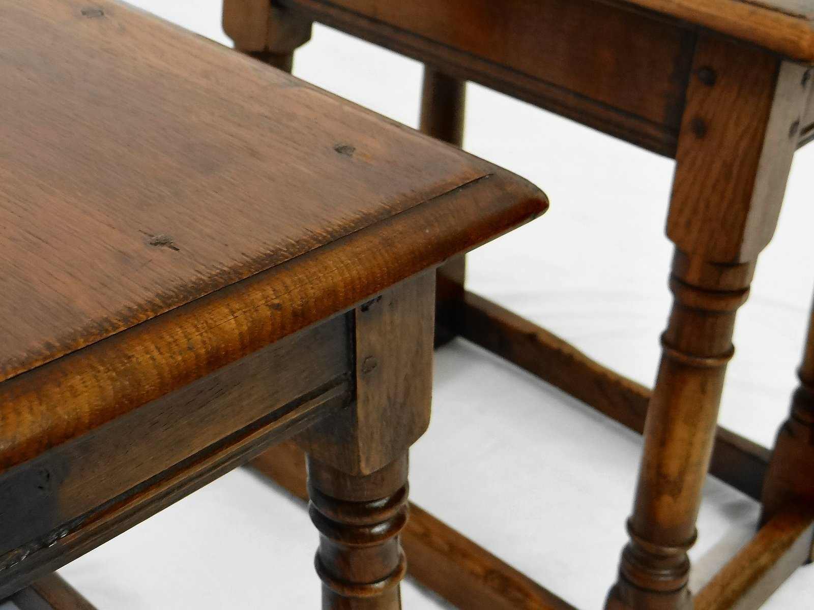 Antique Solid Oak Side Tables Set of 2 for sale at Pamono