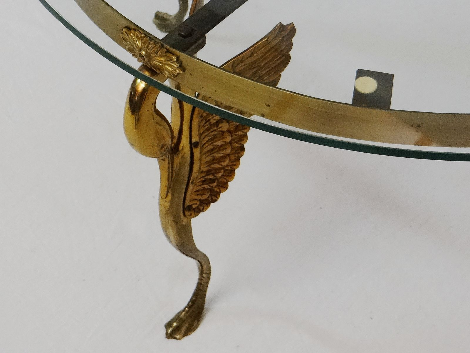 Vintage Art Deco Bronze Swan Coffee Table for sale at Pamono