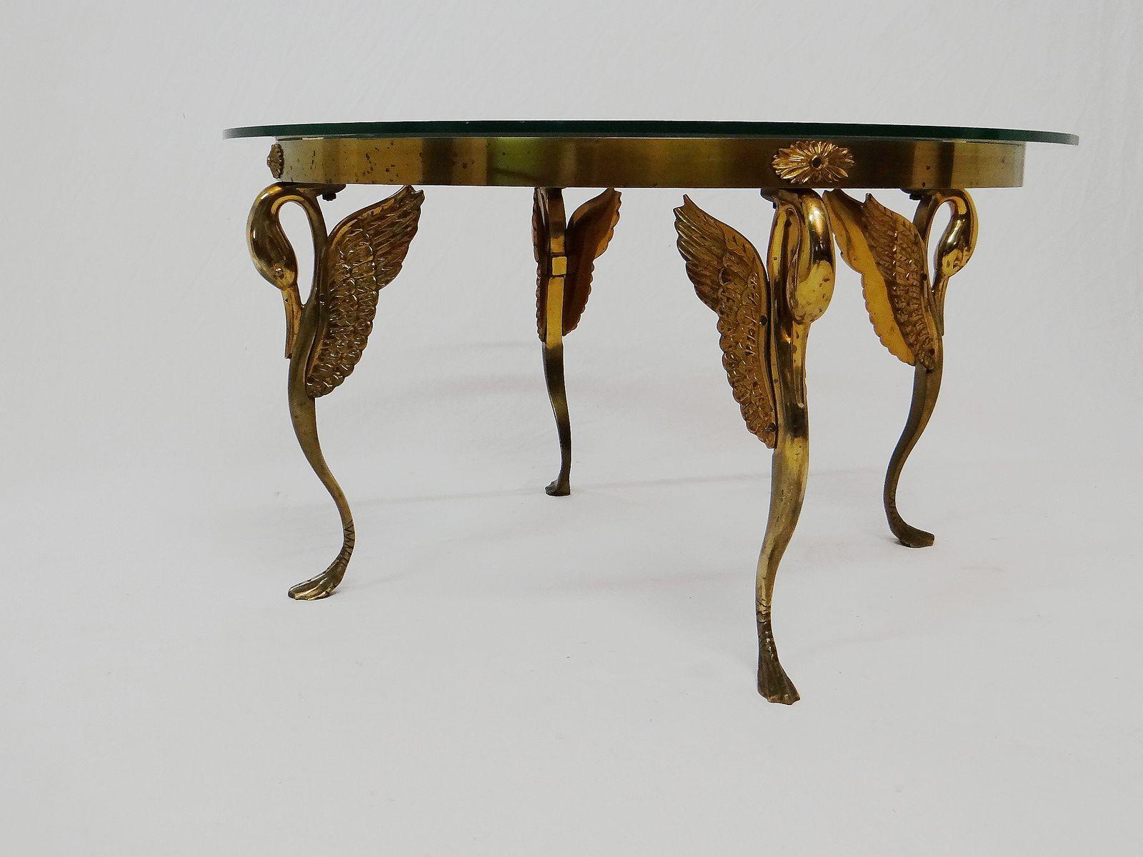 vintage art deco bronze swan coffee table for sale at pamono. Black Bedroom Furniture Sets. Home Design Ideas