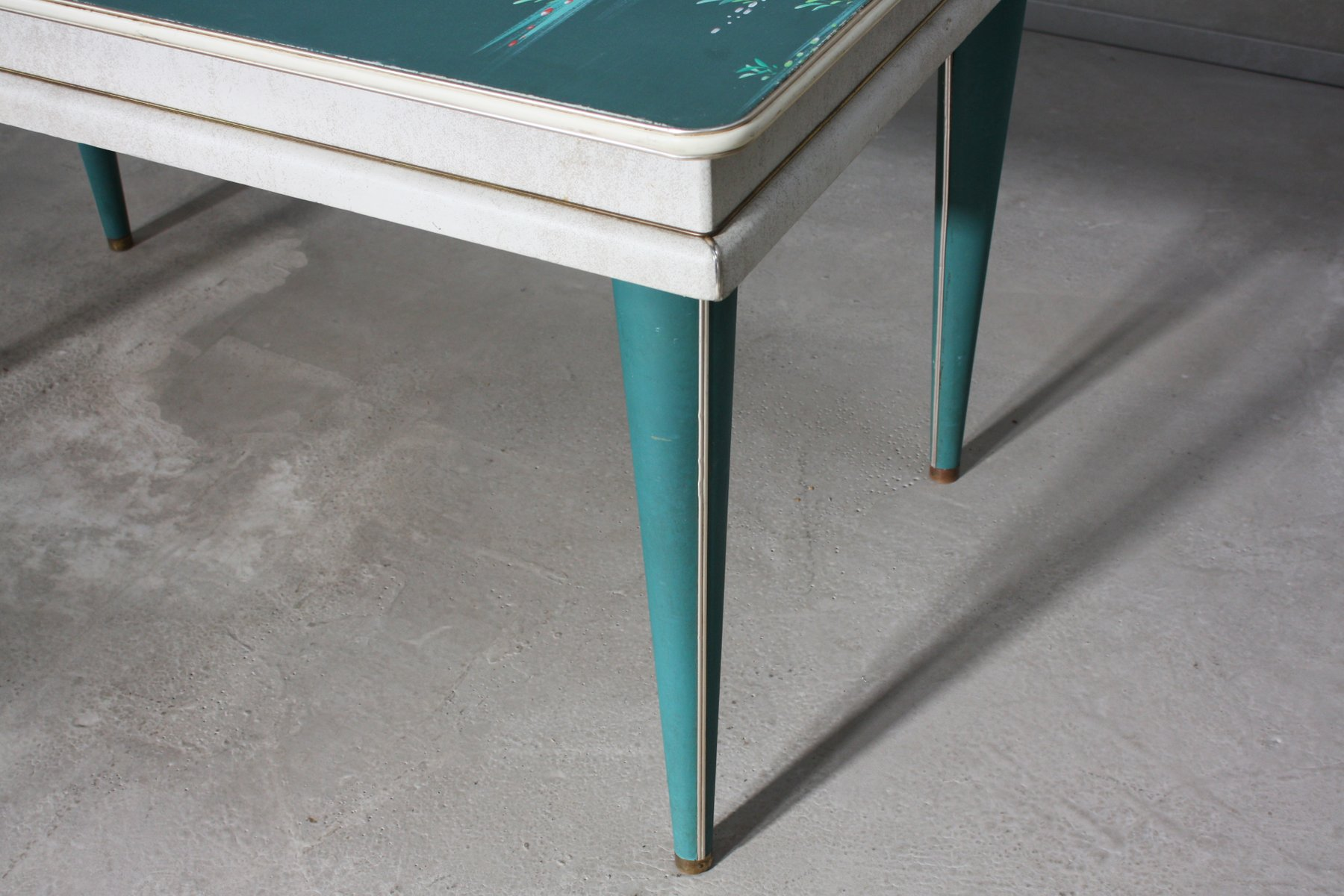 Mid Century Hand Painted Dining Table by Umberto Mascagni 1950s