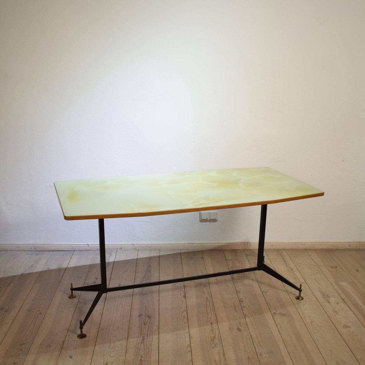 italienischer mid century ess oder schreibtisch mit glasplatte 1950er bei pamono kaufen. Black Bedroom Furniture Sets. Home Design Ideas
