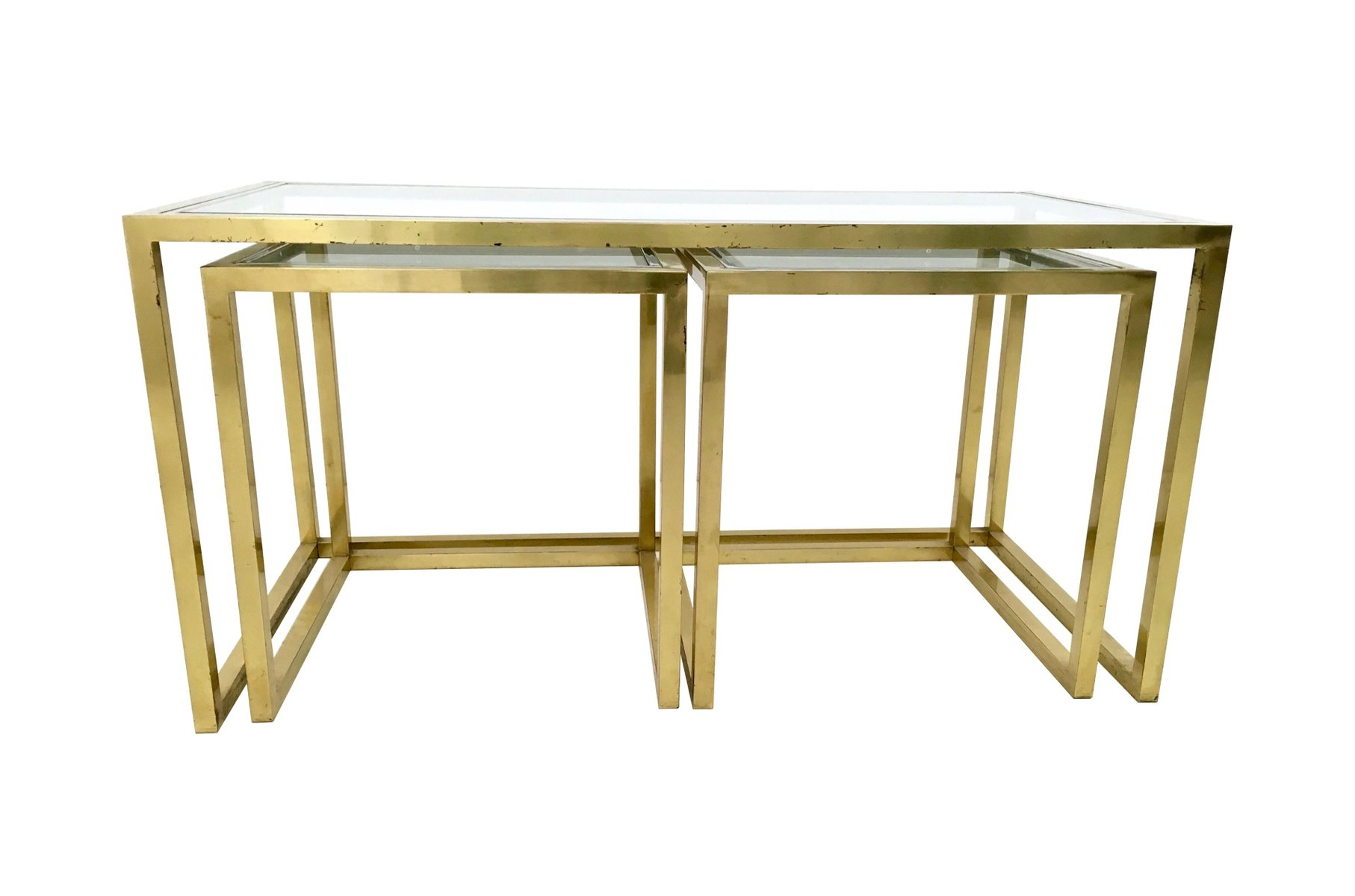 Italian Brass Steel and Glass Nesting Tables by Romeo Rega