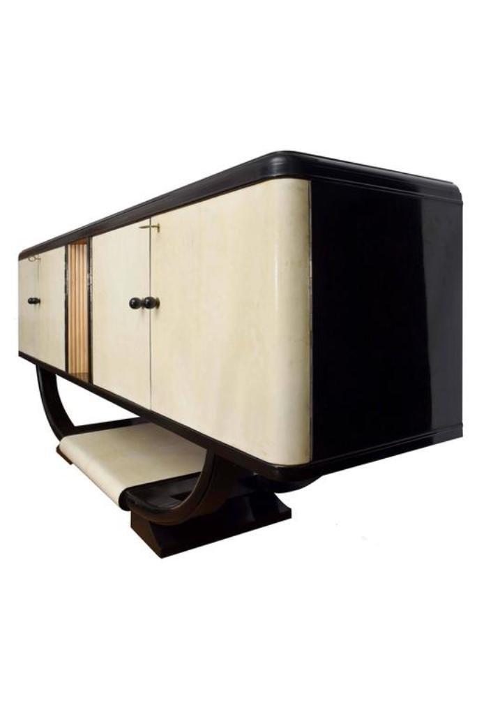 vintage kommode aus pergament schwarz lackiertem holz bei pamono kaufen. Black Bedroom Furniture Sets. Home Design Ideas