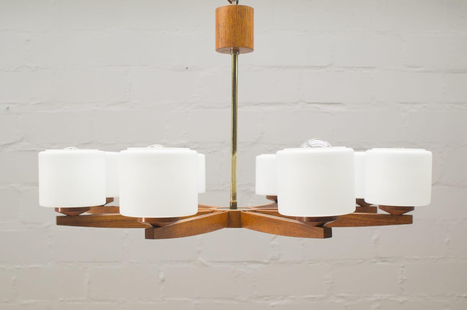 Vintage scandinavian teak lamp with eight opaline glass shades for vintage scandinavian teak lamp with eight opaline glass shades for sale at pamono arubaitofo Images