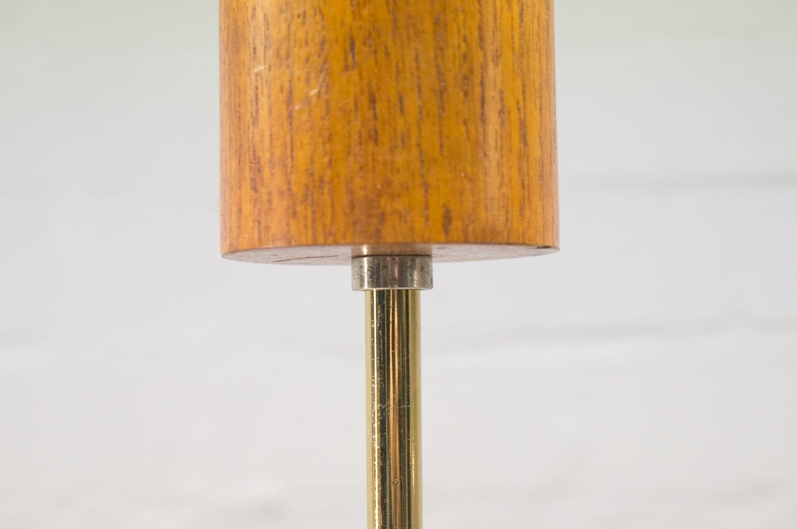 Vintage Scandinavian Teak Lamp With Eight Opaline Glass