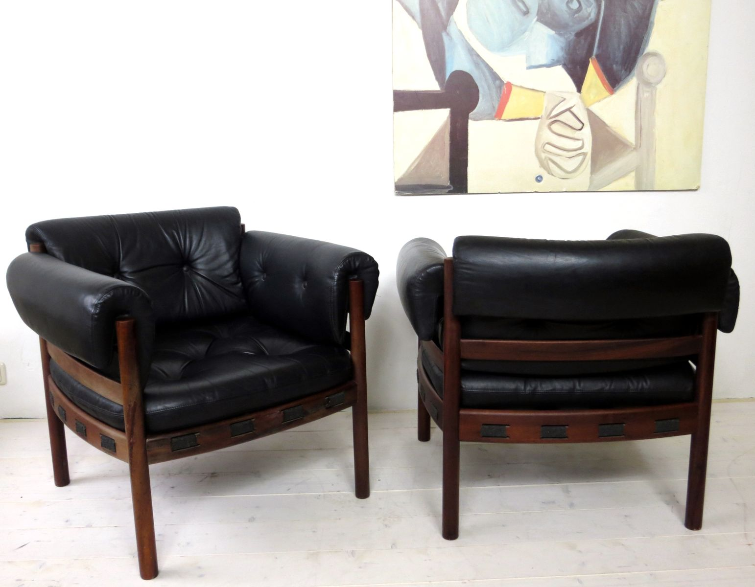 Rosewood U0026 Leather Armchairs By Arne Norell For Coja, 1960s, Set Of 2
