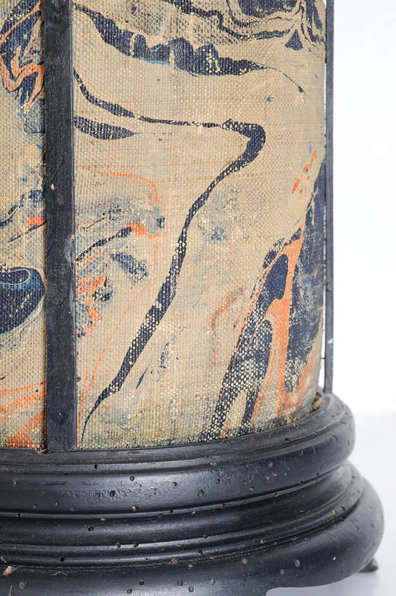 antique hand painted fabric wood table lamp for sale at