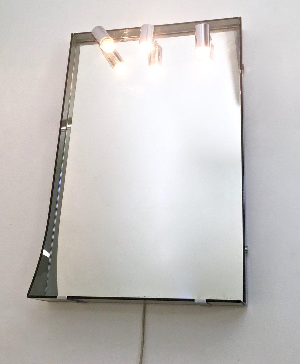Miroir mural en verre fum et plaqu chrome de veca 1970s for Verre et miroir