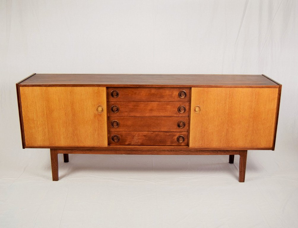 oak sideboard by h w klein 1970s for sale at pamono. Black Bedroom Furniture Sets. Home Design Ideas