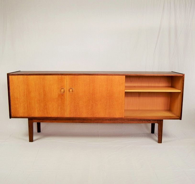 oak sideboard by h w klein 1970s for sale at pamono. Black Bedroom Furniture Sets. Home Design Ideas