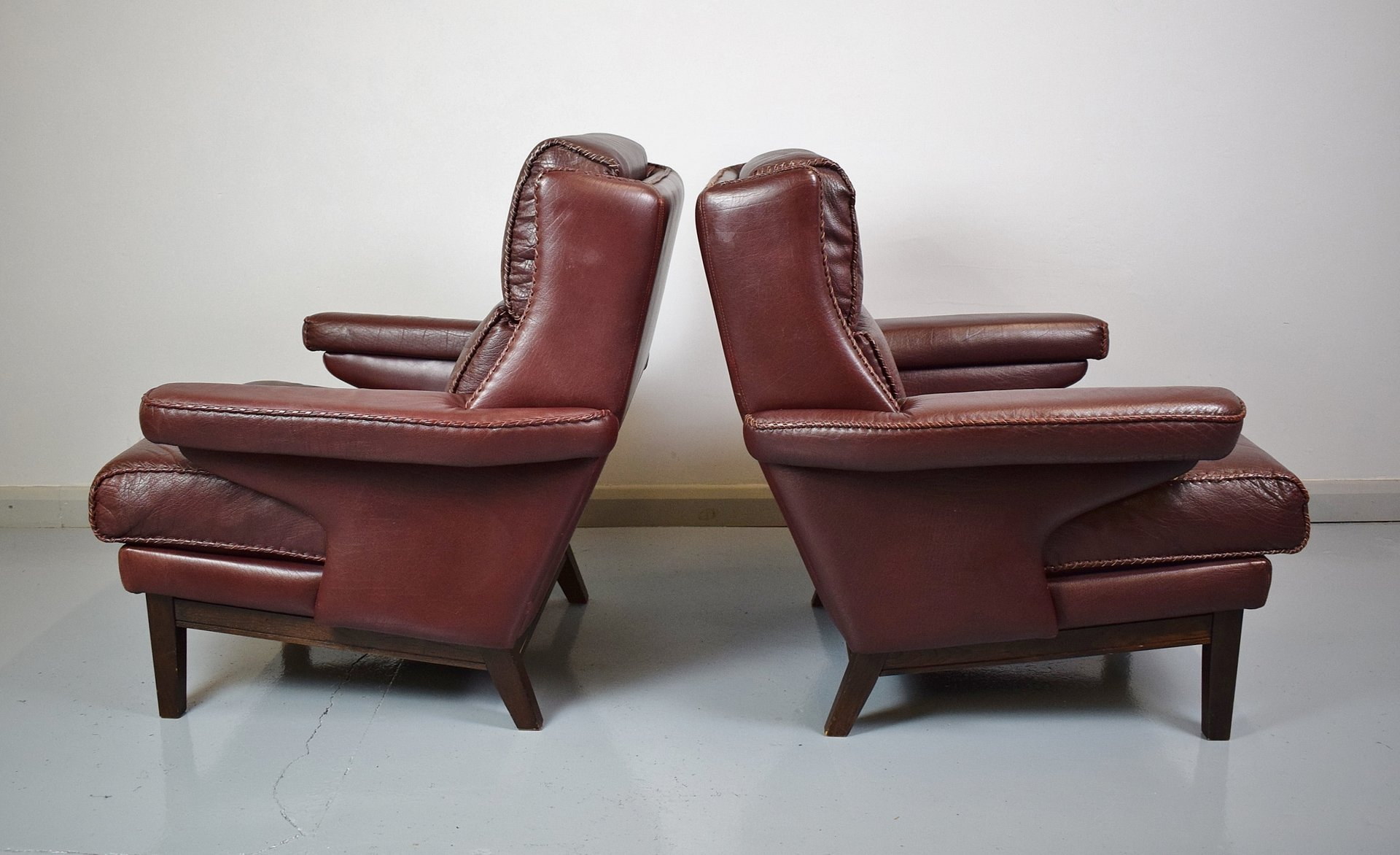 Mid Century Burgundy Leather Lounge Chairs 1970s Set Of