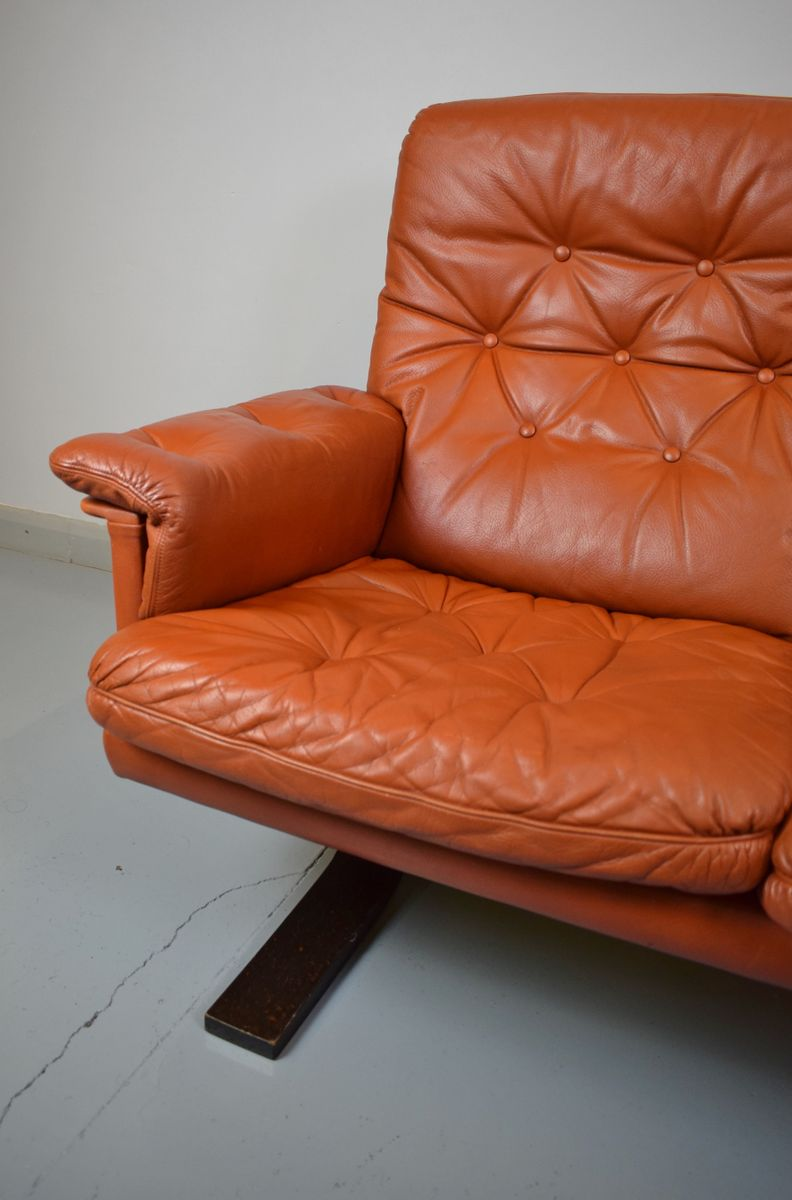 Tan leather 3 seater sofa 1970s for sale at pamono for Tan couches for sale