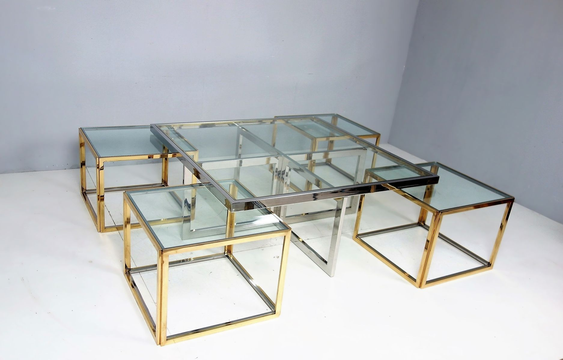 Large vintage coffee table with nesting tables by maison charles large vintage coffee table with nesting tables by maison charles 9 579000 price per piece geotapseo Choice Image