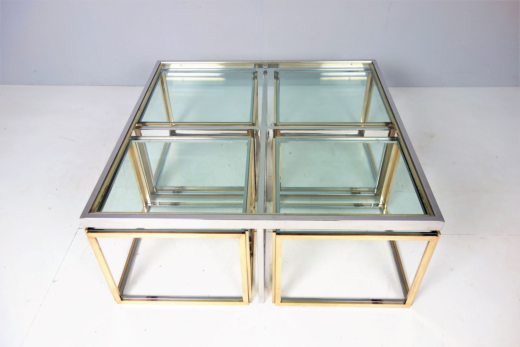 Large vintage coffee table with nesting tables by maison charles large vintage coffee table with nesting tables by maison charles geotapseo Choice Image